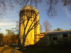 Golden fall sunlight on the silo