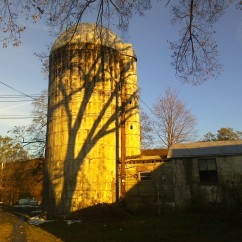 Golden fall sunlight on the silo