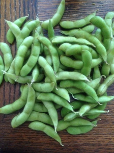 Edamame pods pulled from the plant and ready to cook