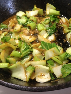 Bok Choy cooked in garlic, ginger, and soy sauce. Yum!