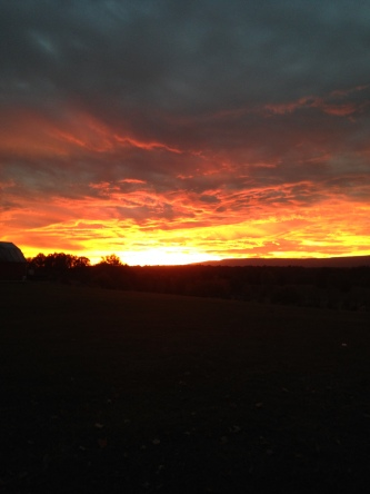 The sunset over the Shawangunks last Monday.  I had to pull over on my way to get eggs just to stare at this for awhile!