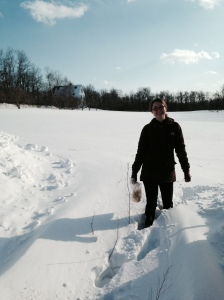 To begin seeding in early March, Alison braved the knee deep snow as she rescued our plant labels from a snowed-in hoophouse.