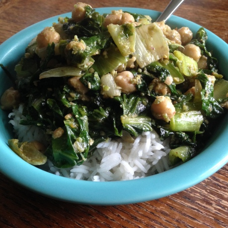 Alli made this delicious dish with the plethora of escarole we had last week.