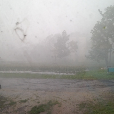 The rain and wind in full force.