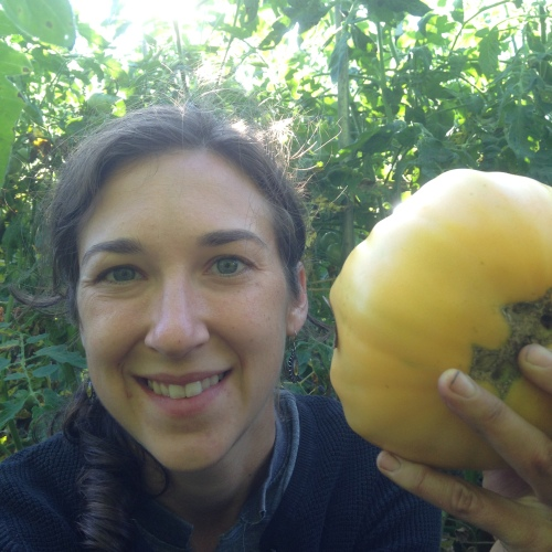 Yep, tomato season has arrived!  And with that comes my annual look-at-this-tomato-the-size-of-my-head picture.