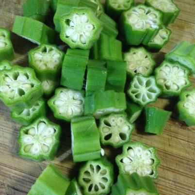 Okra chopped and ready to meet its fried destiny