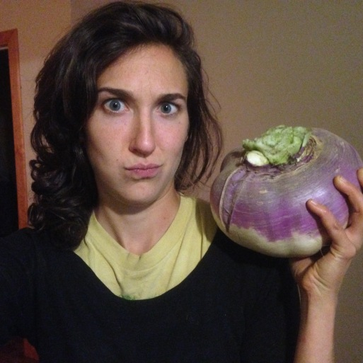 Purple top turnips will appear in your shares next week and at Thanksgiving.  This turnip went rogue and grew into this (almost) 5 pound beast.  The rest of the turnips we have in storage are a much more reasonable size!