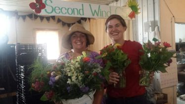 Here's member Heidi who has been gracing me with her lovely presence and flower knowledge for making market bouquets.